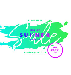 end of summer season sale banner with tropic vector image