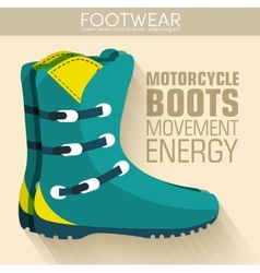 Flat motorcycle boots shoes background concept vector