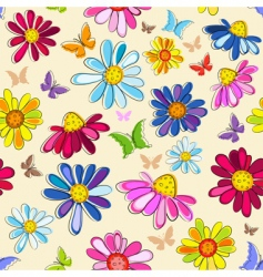 Effortless pink floral pattern vector