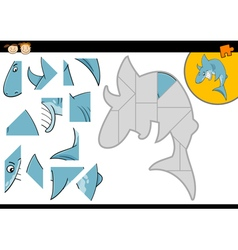 Cartoon shark jigsaw puzzle game vector