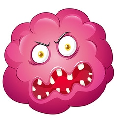 Pink bacteria with ugly face vector