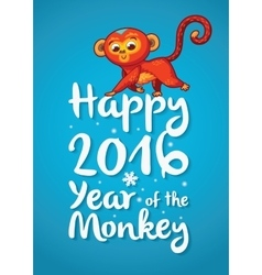Happy 2016 year of the red monkey funny cartoon vector
