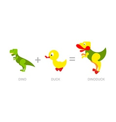 Dinosaur and duck dino-duck - new species of vector