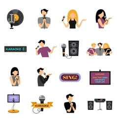 Karaoke flat icons set vector