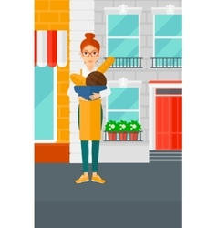 Bakery owner with bread vector