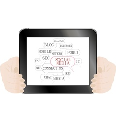 Social media and network concept on tablet pc vector