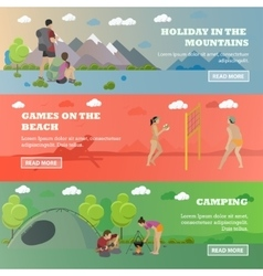 Set of summer recreation concept banners in vector