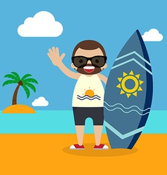 Surfer with surfboard on summer vacation vector