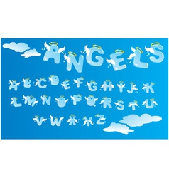 Alphabet with funny angels letters and clouds vector image vector image