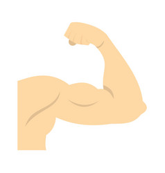 Arm showing biceps muscle icon flat style vector