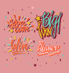 big win you winner inscriptions with burst of vector image vector image