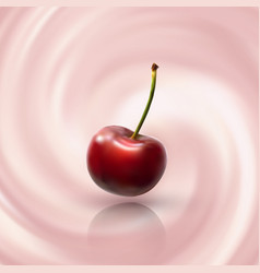 Cherry on creamy background vector