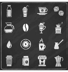 Coffee icons chalkboard vector