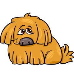 Cute hairy dog cartoon vector