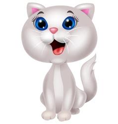 Cute white cat cartoon sitting vector