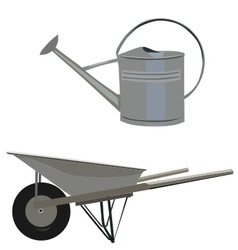 Garden set with wheelbarrow and ewer vector
