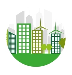 Green city ecology buildings vector