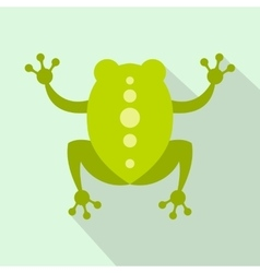 Green frog icon flat style vector