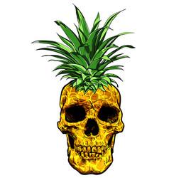 hand drawn skull fruit pineapple vector image vector image