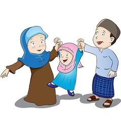 Happy Muslim Family Cartoon vector image