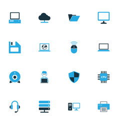 hardware colorful icons set collection of floppy vector image vector image