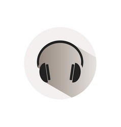 headphones icon on a button and white background vector image vector image