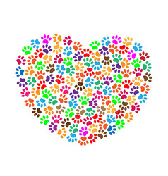 Heart of colorful paw prints vector