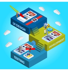 Process of app development flat 3d vector