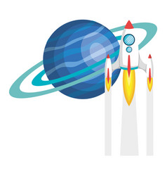 Saturn planet with rocket flying vector