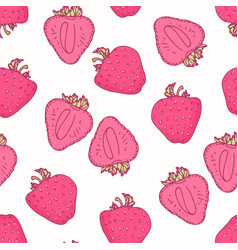 Seamless pattern with hand drawn strawberry flavor vector