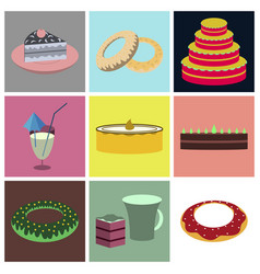 set icons in flat design cakes desserts vector image