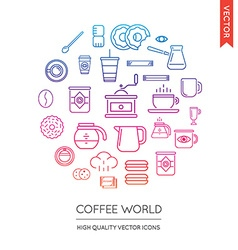 Set of Coffee Modern Flat Thin Icons Inscribed in vector image vector image