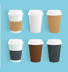 Set of disposable coffee cups realistic vector