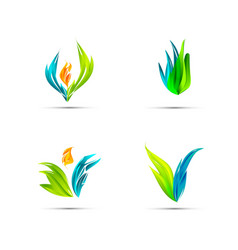 Set of minimal geometric multicolor floral vector