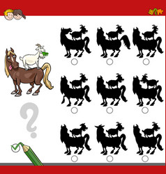 Shadow game activity with farm animals vector