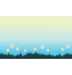 Spring with flower oh hill landscape vector