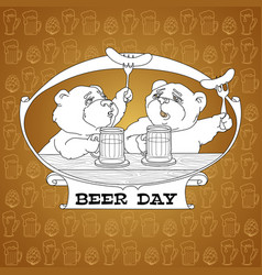 two bears in friendly conversation over a beer vector image