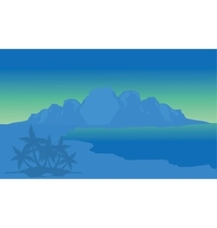 View beach and highlands with blue background vector