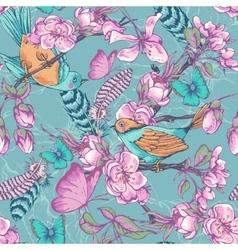 Vintage garden spring seamless pattern vector image