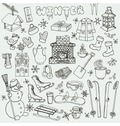 Winteer doodle iconselementsBlack set vector image vector image
