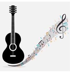 Traditional guitar treble clef notes vector