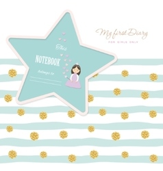 Cute template for notebook cover girls my first vector