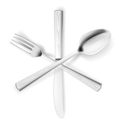 Crossed fork spoon and knife on white vector