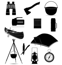 Set icons items for outdoor recreation black and vector