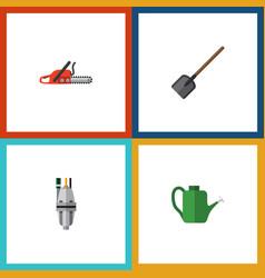 flat icon dacha set of pump bailer hacksaw and vector image