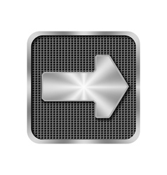 Metal arrow on background with holes vector