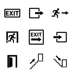 Black exit icons set vector