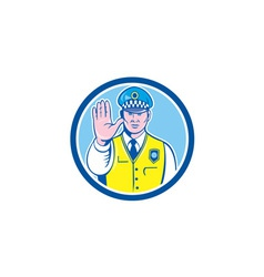 Traffic policeman hand stop sign circle cartoon vector