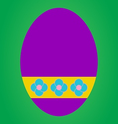 Violet easter egg with flower pattern on green bac vector