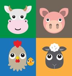 Farm animals head vector image